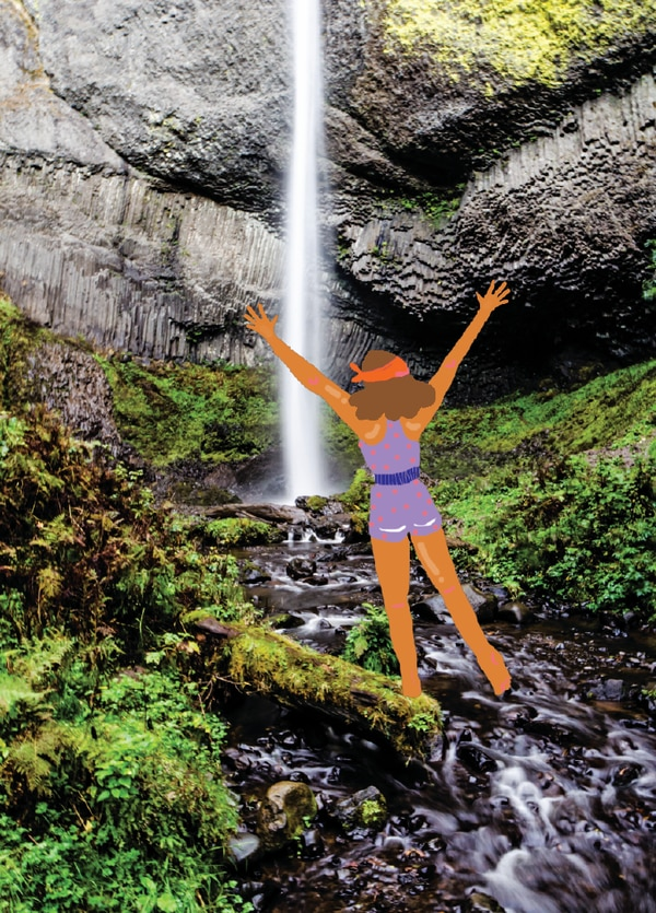 Latourell Falls (Photo by Joe Rield; Illustration by Tricia Hipps)