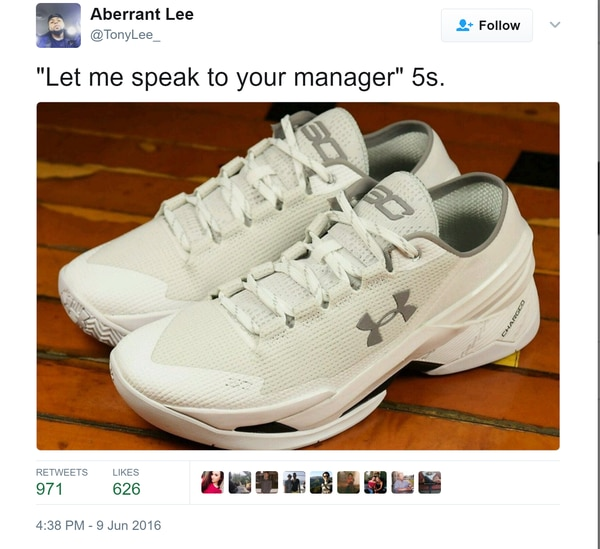 "The ""Chef"" Curry Two Lows were not popular with Twitter user @TonyLee_"
