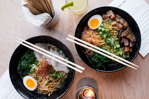 In Hapa's G Special ramen (bottom), you'll recognize elements of a Hawaiian lunch plate and a Tokyo ramen. IMAGE: Wesley Lapointe.