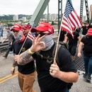 Proud Boys cross the Hawthorne Bridge on Aug. 17, 2019. (Wesley Lapointe)