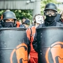 Some antifascist protesters at an Aug. 4 protest carried shields. (Sam Gehrke)