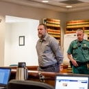 Russell Courtier enters a Multnomah County courtroom on the final day of his murder trial. (Justin Katigbak)