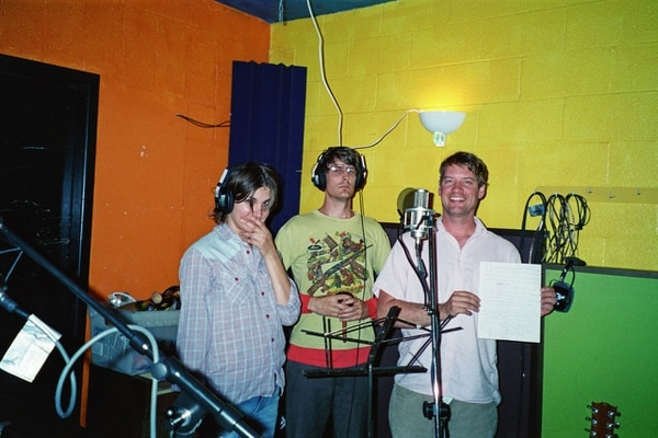 "Stephen Malkmus (center) and the Jicks recording ""Pig Lib"" at Jackpot in 2002. IMAGE: Courtesy of Larry Crane."