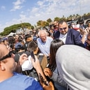 Jesse Cornett with Sen. Bernie Sanders in Santa Ana, Calif. (Bryan Giardinelli)