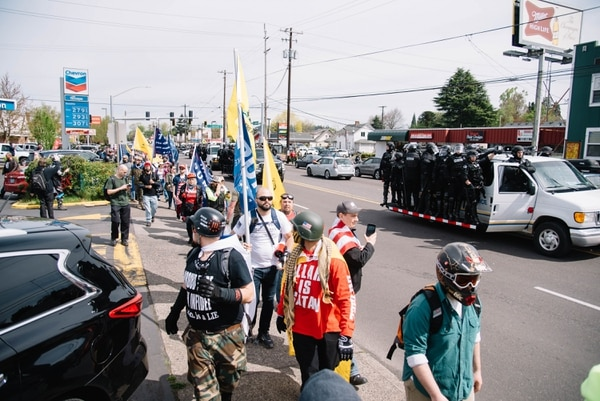 An alt-right march in Southeast Portland in April. (Joe Riedl)