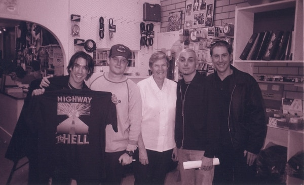 Everclear at an Aussie record store owned by the family of a kid who won a contest to interview the band, courtesy of Steven Birch.