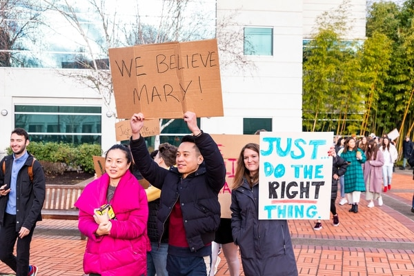 Nike employees protest. (Wesley Lapointe)