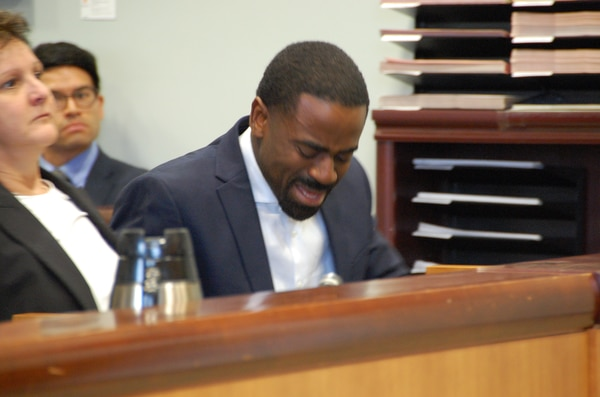 Charles McGee reacts to a not guilty verdict on March 22, 2019. (Aimee Green The Oregonian/Oregonlive.com)