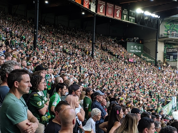 Timbers Army fans refuse to cheer at an Aug. 23 game in protest of an MLS Iron Front flag ban. (WW staff)
