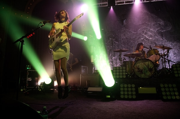 Carrie Brownstein (left) performing with Sleater-Kinney at Crystal Ballroom in May 2015. IMAGE: Colin McLaughlin.