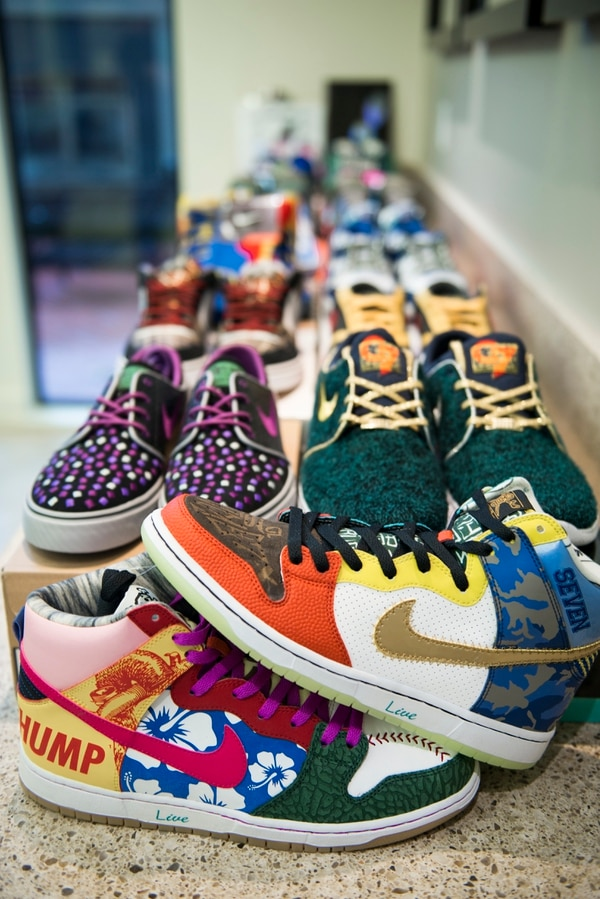 SLAM DUNK: Jordan Michael Geller's collection of shoes designed by patients at Doernbecher Children's Hospital. (Thomas Teal)