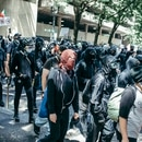 Antifascists came downtown Aug. 4 clad in head-to-toe