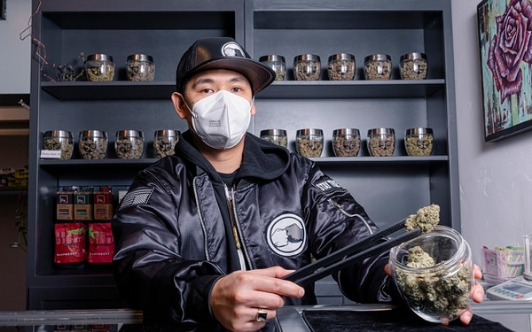 SAMPLE: An employee at Fidus named EJ displays one of the store's best cannabis strains.