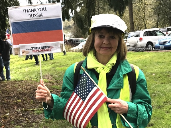 A Donald Trump supporter in Lake Oswego on March 4, 2017. (Mike Bivins)