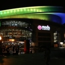 Moda Center lit in purple and gold. (Courtesy of Moda Center)
