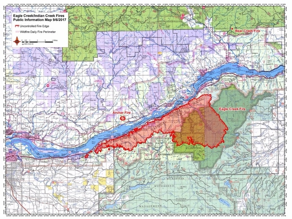 Boundary of Eagle Creek Fire on Wednesday, Sept. 6. (U.S. Forest Service)