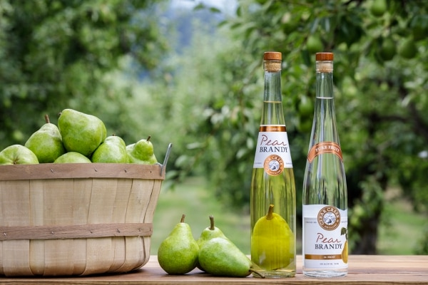 Clear Creek's pear brandies, including one that has a whole pear inside. (Courtesy of Clear Creek Distillery)