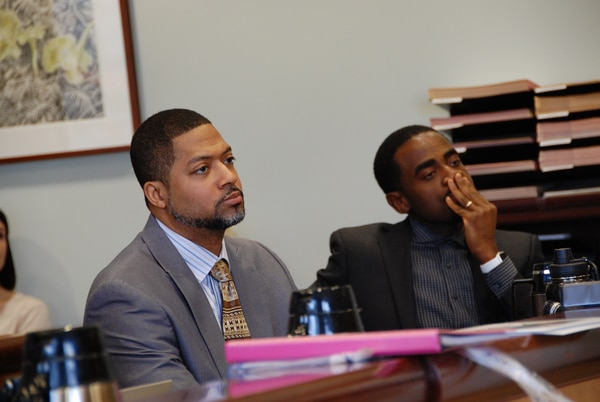 Aubre Dickson (left) and Charles McGee in Multnomah County Circuit Court on March 14, 2019. (Aimee Green, The Oregonian/Oregonlive.com)