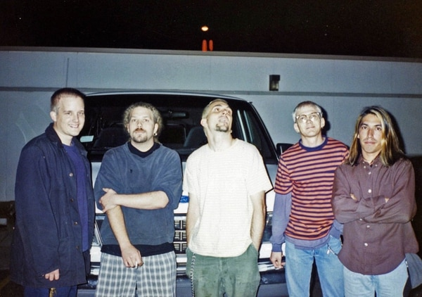 """From left: Greg Eklund, Michael Wade Douglass, Art Alexakis, Rob Cunningham and Craig Montoya immediately after the recording of 1995's """"Sparkle and Fade"""" in Madison, Wis."""