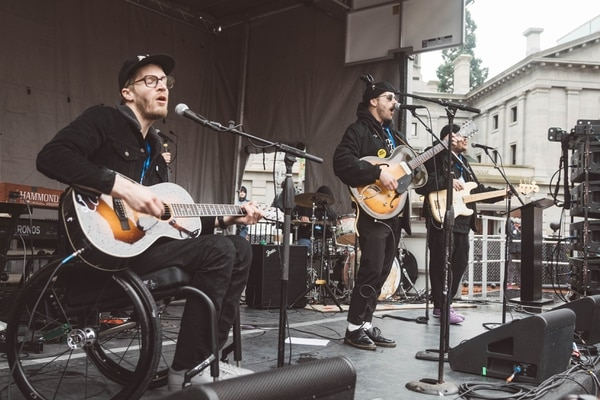Portugal. The Man perform at March for Our Lives, Portland, March 24, 2018. (CJ Monserrat)