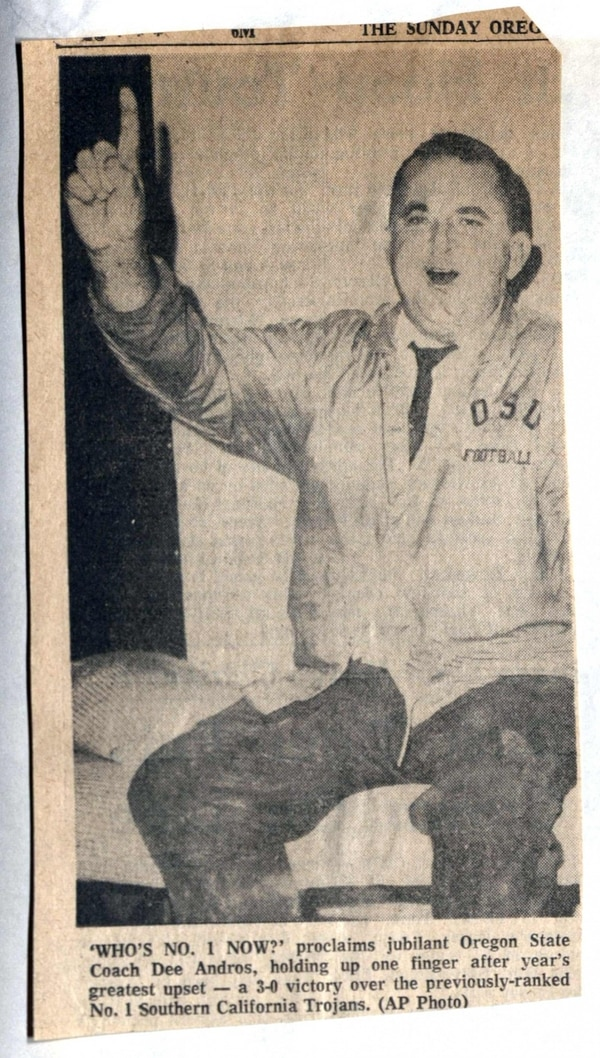 A clipping of '67 Beavers head coach Dee Andros (courtesy of Alex Crawford)
