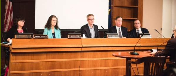 The Portland City Council is besieged by weekly protests. The council currently consists of (from left to right) Chloe Eudaly, Amanda Fritz, Mayor Ted Wheeler, Dan Saltzman and Nick Fish. (Thomas Teal)