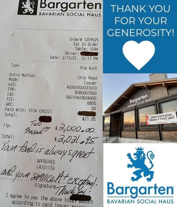 A regular at Bargarten left an extraordinarily large tip after his lunch.