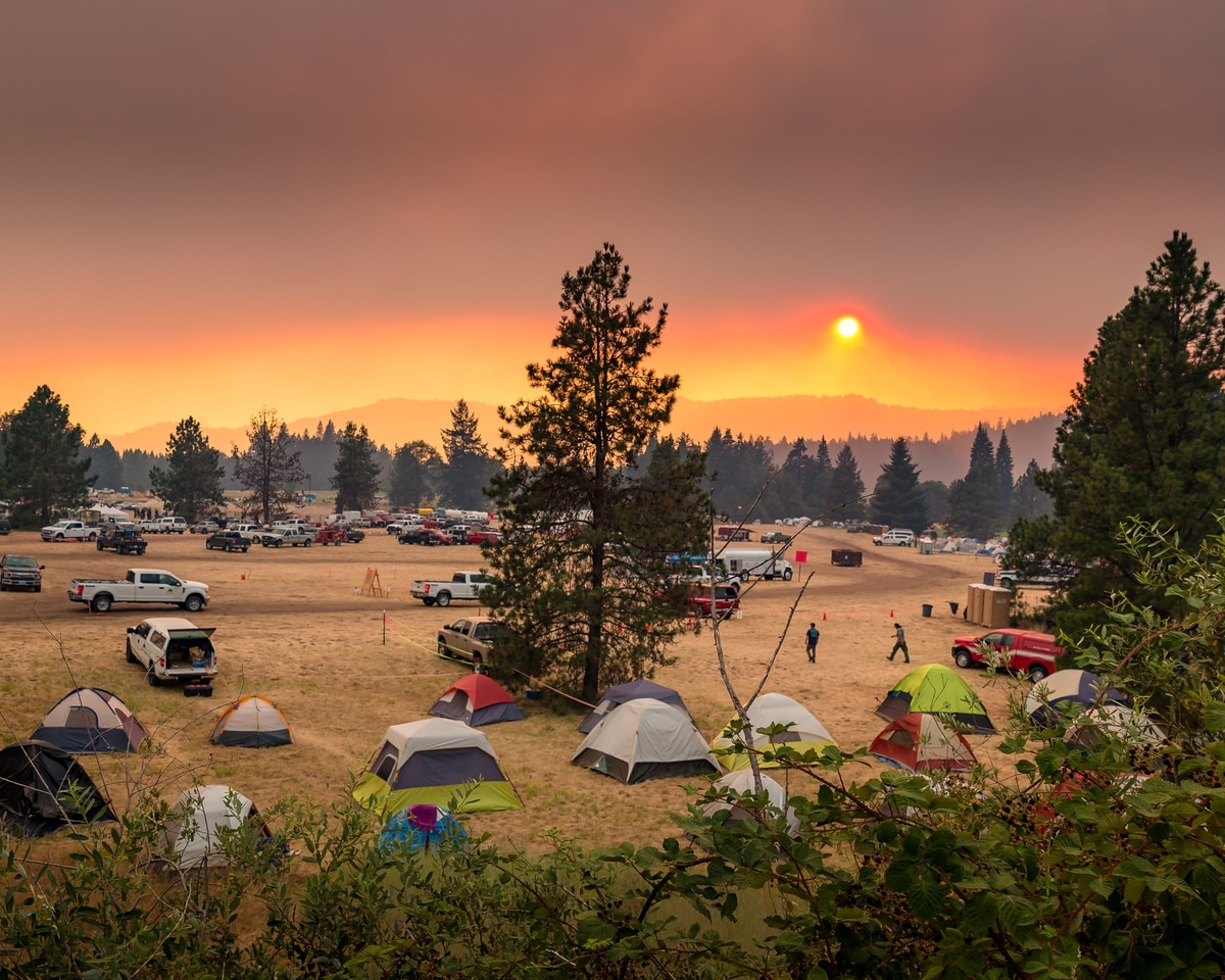 Images Taken At Sunset Of Fire Response Teams Northwest Incident Team 13 Gathering At A Fire Camp In Joseph Stewart State Park Near Medford Oregon