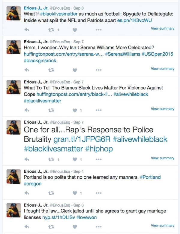 "An investigator at the Oregon Department of Justice monitored tweets by Erious Johnson, a DOJ lawyer, because he used the ""Black Lives Matter"" hashtag. Here's a sampling of what Johnson tweeted in September."