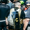 A protester sporting Proud Boy colors on Aug. 4, 2018. (Sam Gehrke)