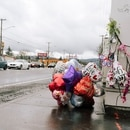 DEADLY CROSSING: A memorial along a Portland arterial highway.