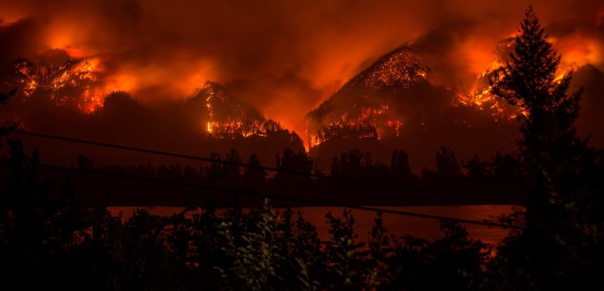 Multnomah Falls Engulfed In Flames As Out Of Control Wildfire Races West Through Gorge