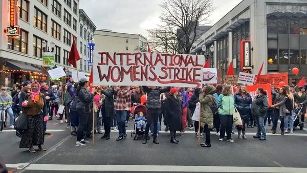 International Women's Strike in downtown Portland