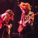 Sleater-Kinney's Carrie Brownstein (left) and Corin Tucker performing at the Crystal Ballroom. IMAGE: Sam Gehrke.
