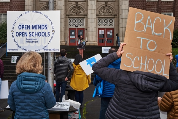 Rally at Benson Polytechnic to reopen Oregon schools. (Chris Nesseth)