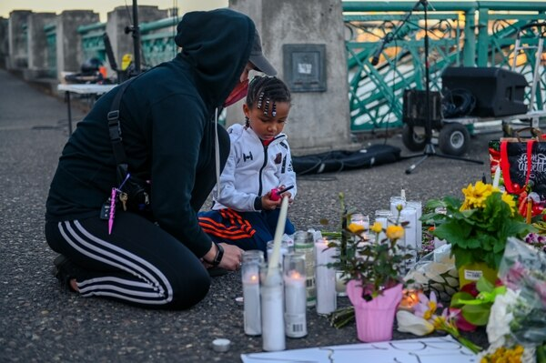 A vigil for Daunte Wright on the Portland waterfront. (Mick Hangland-Skill)
