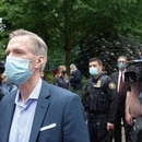 Portland Mayor Ted Wheeler arrives for a May 30 press conference following riots. (Zane Fleming)