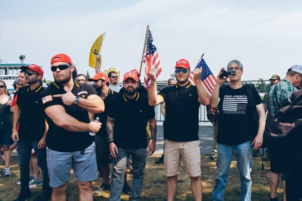 Proud Boys at Tom McCall Waterfront Park on Aug. 6, 2017. (Daniel Stindt)