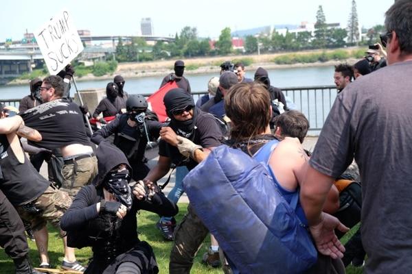 Brawls at Tom McCall Waterfront Park on Aug. 6, 2017. (Daniel Stindt)