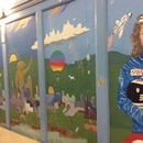 DECK THE HALLS: Murals at Glencoe Elementary portray Christa McAuliffe and Challenger. (courtesy of Kelley Sigler)