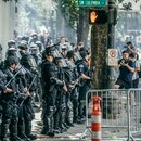 Riot police at an August 2018 protest in downtown Portland. (Sam Gehrke)