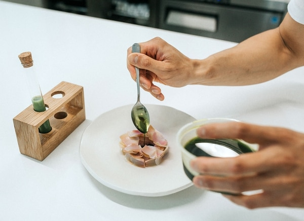 Oregon bay shrimp with fig leaf and artichoke at Berlu, awaiting a mussel broth flavored with parsley. IMAGE: Abby Gordon.