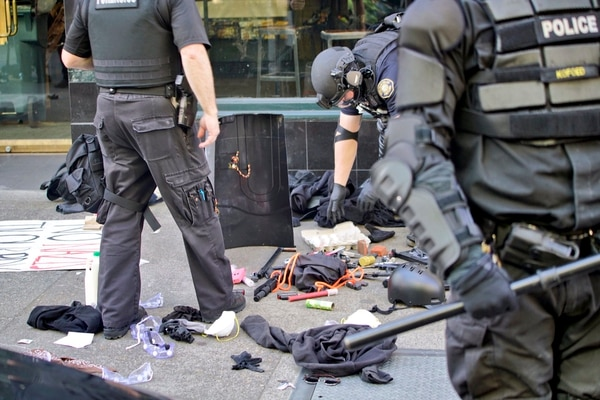 Items confiscated from the police kettle. (William Gagan)