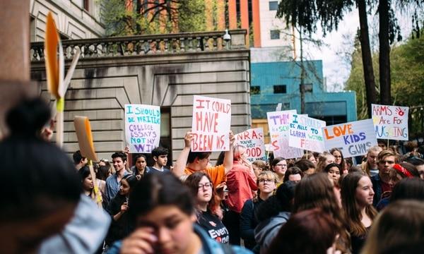 Protest of gun violence outside Portland City Hall. (Christine Dong)