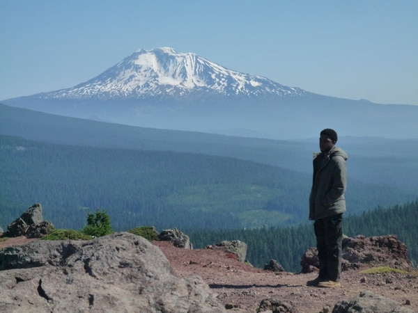 Chadwick Boseman in front of Mt. Adams. IMAGE: Courtesy of Mischa Webley.