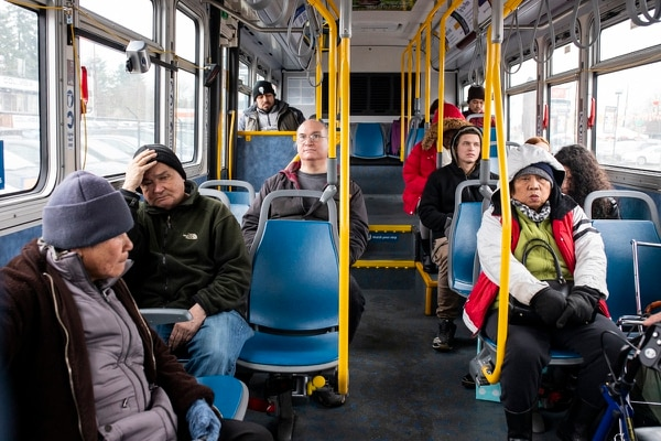 "Most people we spoke with are happy with their bus service. ""It's always hard to find a seat,"" said 20-year-old Ky Weissman, ""but there's nothing really that you can do about that."" (Wesley Lapointe)"