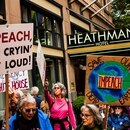 Portlanders protested outside the Heathman Hotel on Oct. 13. The hotel is managed by a company founded by Gordon Sondland. (Briana Ybanez)