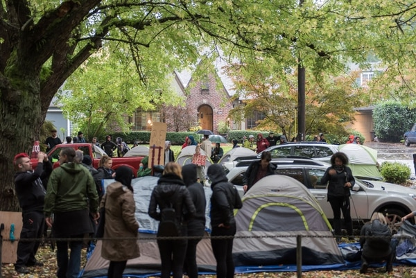 Don't Shoot Portland protesters gather outside Mayor Charlie Hales' house on Oct. 14. (Joe Riedl)