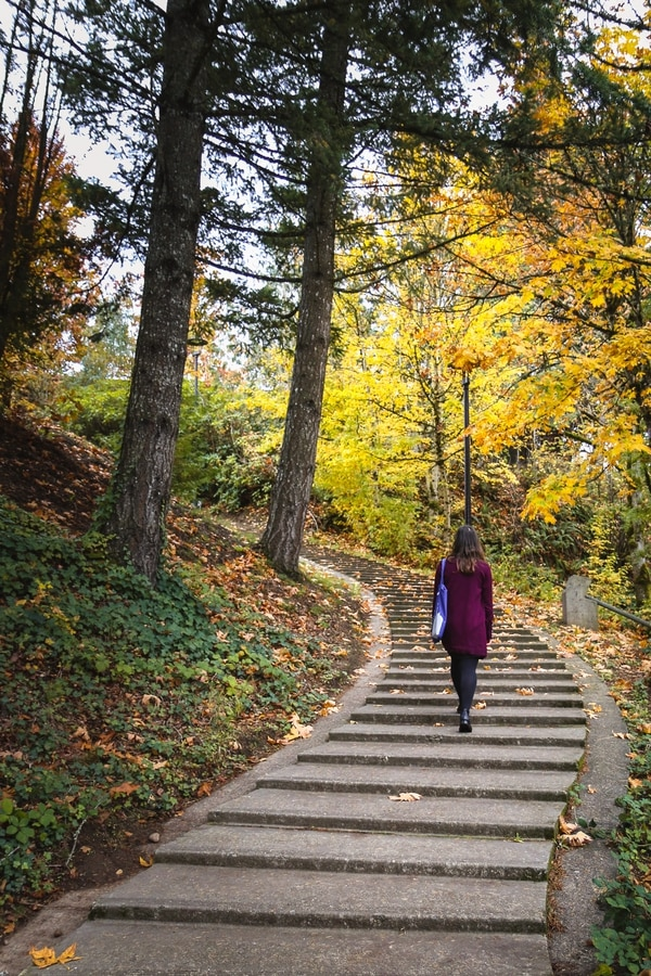 Daniela Baltag walking through the campus of Mt. Hood Community College. (Alena Adams)