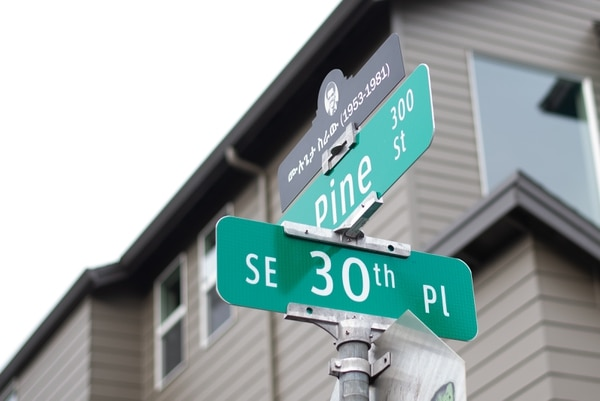 New street signs debut at a memorial for Mulugeta Seraw. (Anna Del Savio)